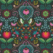 Lewis & Irene - Maya - 6808 - Stylised Floral with Birds & Animals on Black - A383.3 - Cotton Fabric